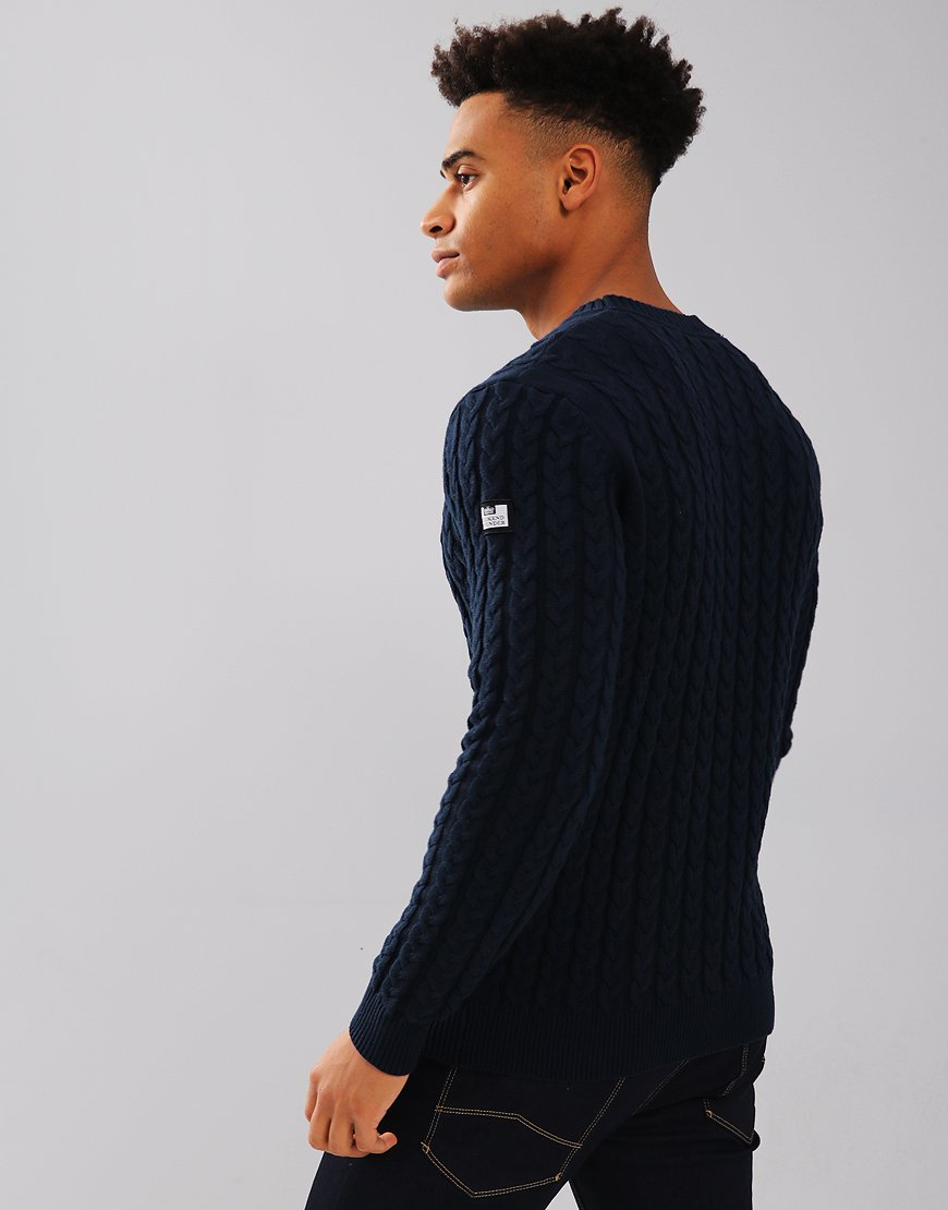e60a52e2a128 Weekend Offender Monzon Cable Knit Jumper Navy - Terraces Menswear