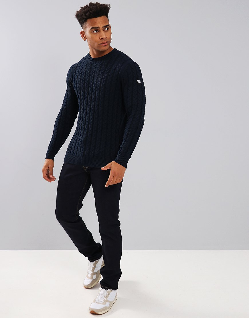 Weekend Offender Monzon Cable Knit Jumper Navy