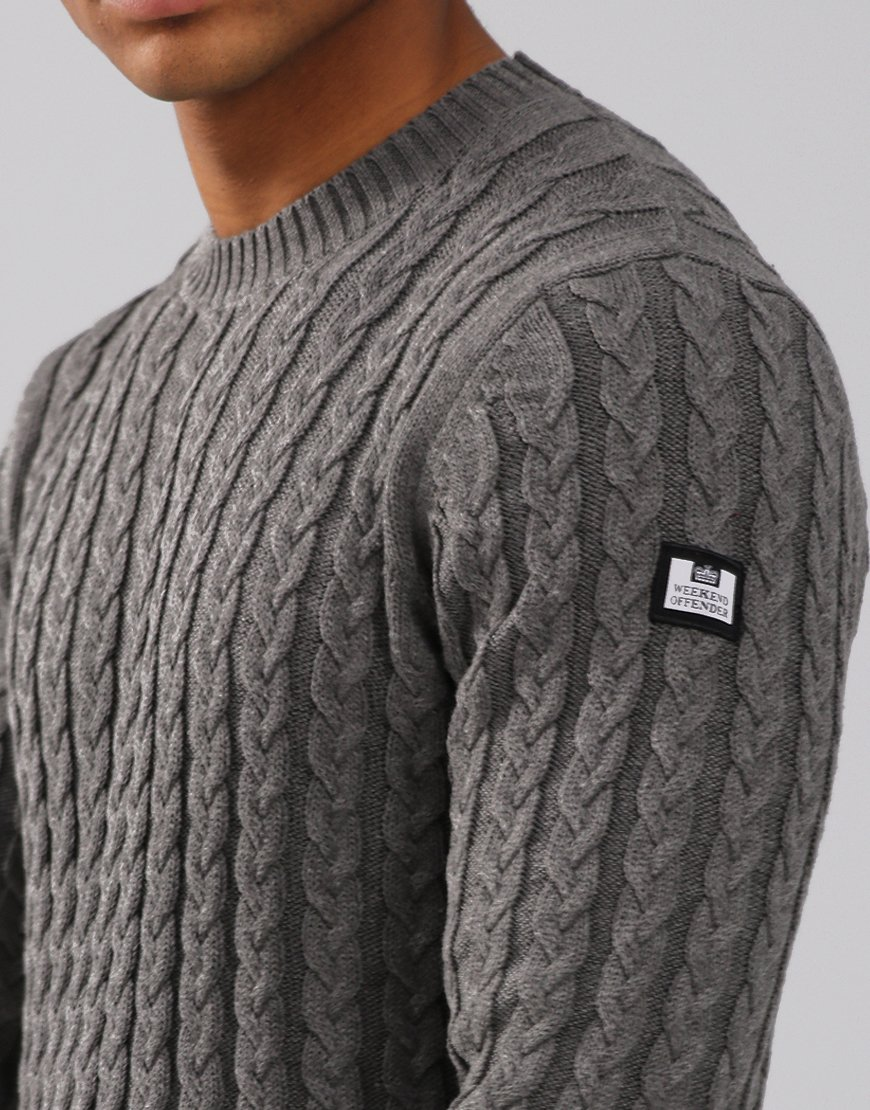 Weekend Offender Monzon Cable Knit Jumper Steel