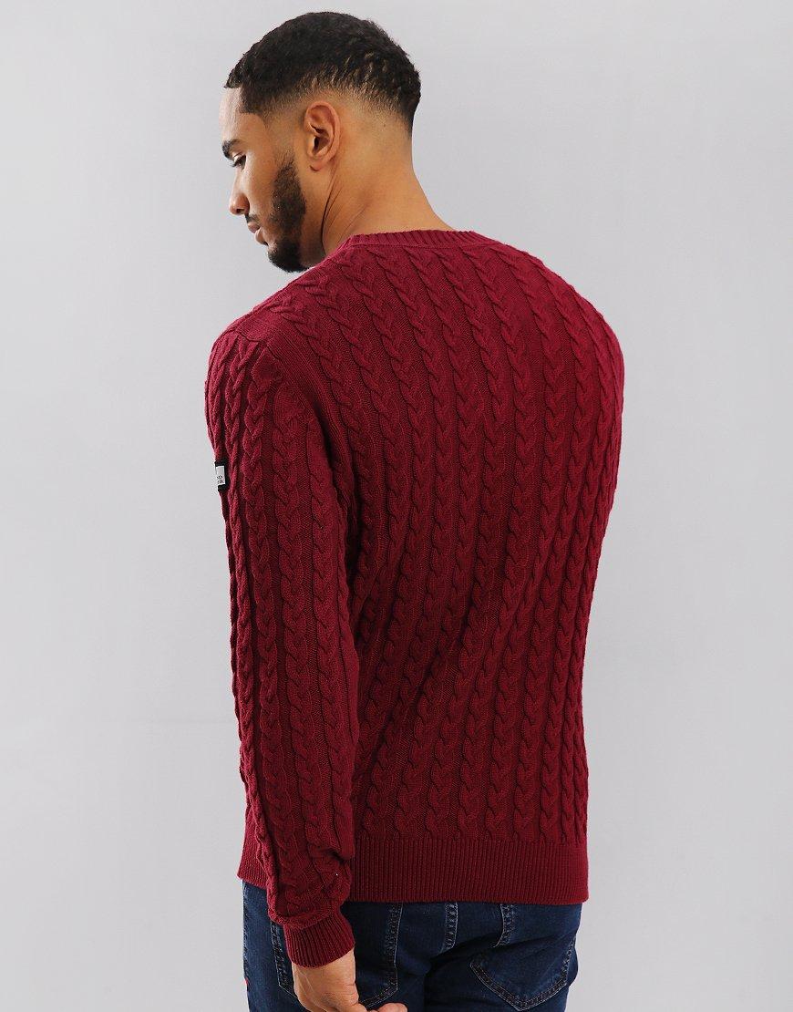Weekend Offender Monzon Cable Knit Jumper Garnet