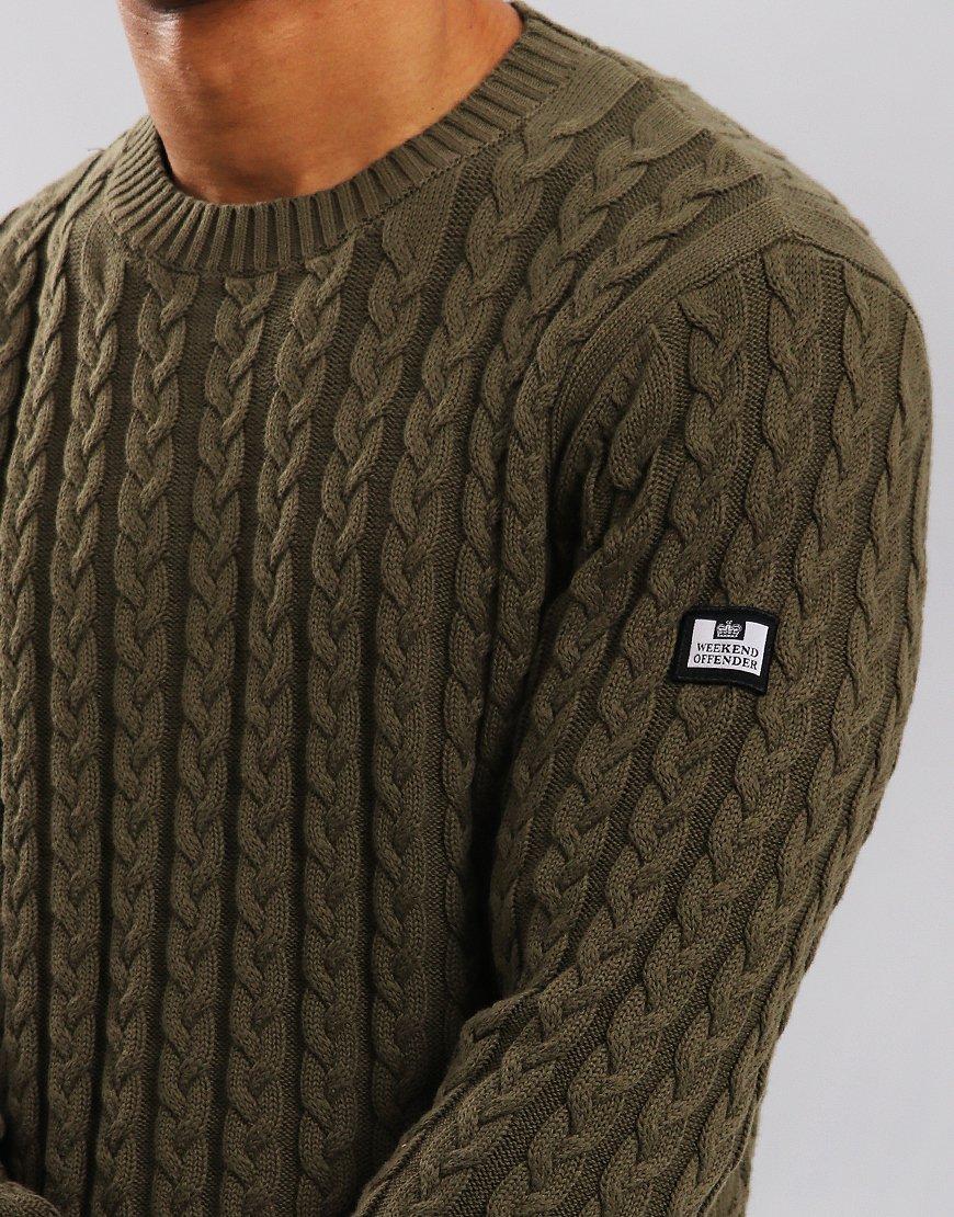 Weekend Offender Monzon Cable Knit Jumper Light Moss