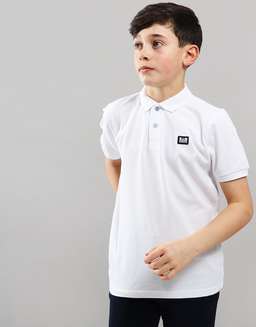 Weekend Offender Kids Slater Polo Shirt White