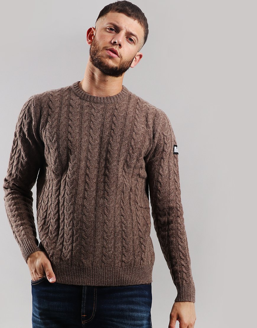 Weekend Offender Whittaker Cable Knit Jumper Bark