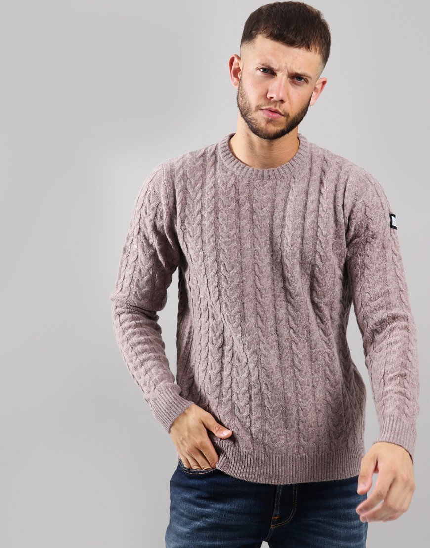 Weekend Offender Whittaker Cable Knit Jumper Heather
