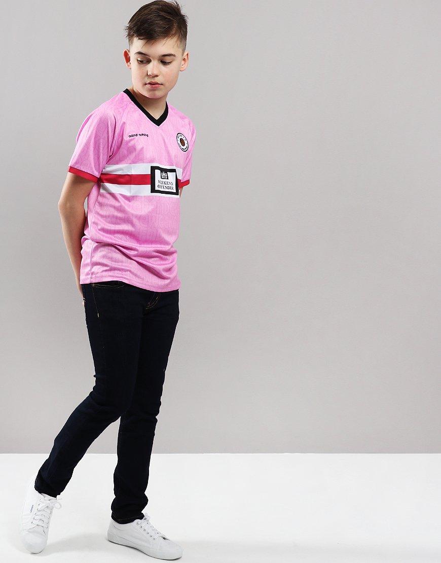 4c26a97d Weekend Offender Kids Football T-Shirt Pink - Terraces Menswear
